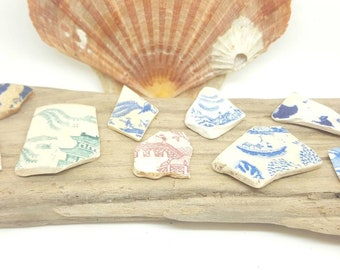Collection of sea worn willow pattern pottery shards,rare colours,collectors items,sea crafts,craft supplies,vintage pottery.