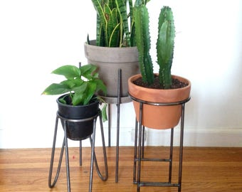 Set of (3) includes The Doris, The Cynthia and The Vernon - Modern Metal Plant Stands