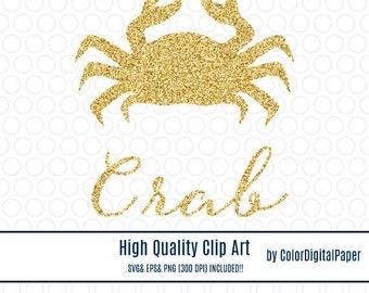 Clipart Gold Glitter Crab Commercial Use Clip Art Svg Zodiac Cancer