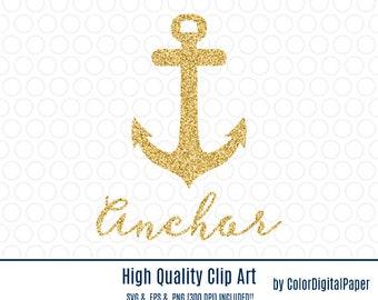 Gold Glitter Anchor SVG Clip Art Commercial Use Clipart Vector EPS File Nautical Marine Navy Party Decor Mug T Shirt Printable