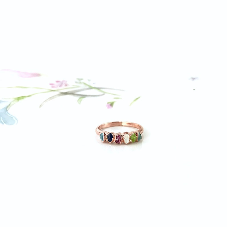 Custom Mothers Ring Mothers Birthstone Ring Mothers Day Personalized Ring Crystal Ring Raw Stone Ring Natural Gemstone Multi Stone Ring
