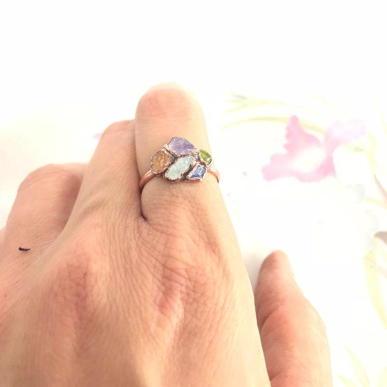Custom Mothers Ring Birthstone Ring Raw Stone Birthstone Jewelry Cluster Ring Crystal Ring Raw Stone Ring Natural Gemstone Multi Stone Ring