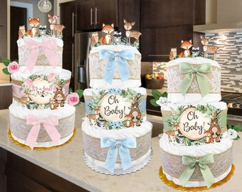 Baby Shower Gift - Woodland Creatures - Diaper Cake for a Boy or Girl - Gender Neutral - Reveal - PERSONALIZE - Decoration - Green or Pink