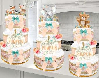 "Baby Shower Gift - ""Little Pumpkin"" - Fall Diaper Cake for a Girl - Elephant - Woodland Creatures - Teddy Bear - Truck - Mint and Peach"