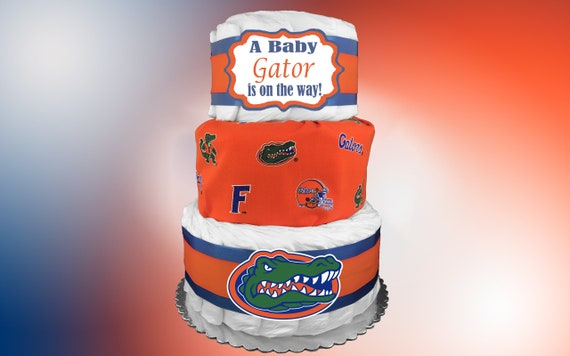 Admirable Florida Gator Diaper Cake Baby Shower Gift Idea Ncaa Fan Etsy Personalised Birthday Cards Veneteletsinfo