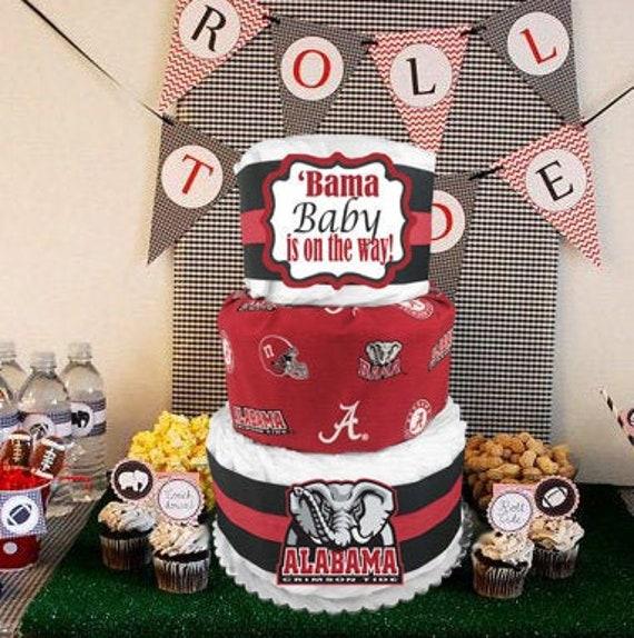 Remarkable Alabama Crimson Tide Diaper Cake Baby Shower Gift Idea Etsy Personalised Birthday Cards Veneteletsinfo