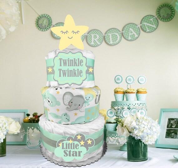 Zebra Diaper Cake Embroidered Diaper Cake Baby Gift Safari Shower Mint Green Diaper Cake Neutral Diaper Cake Neutral Baby Shower Gift