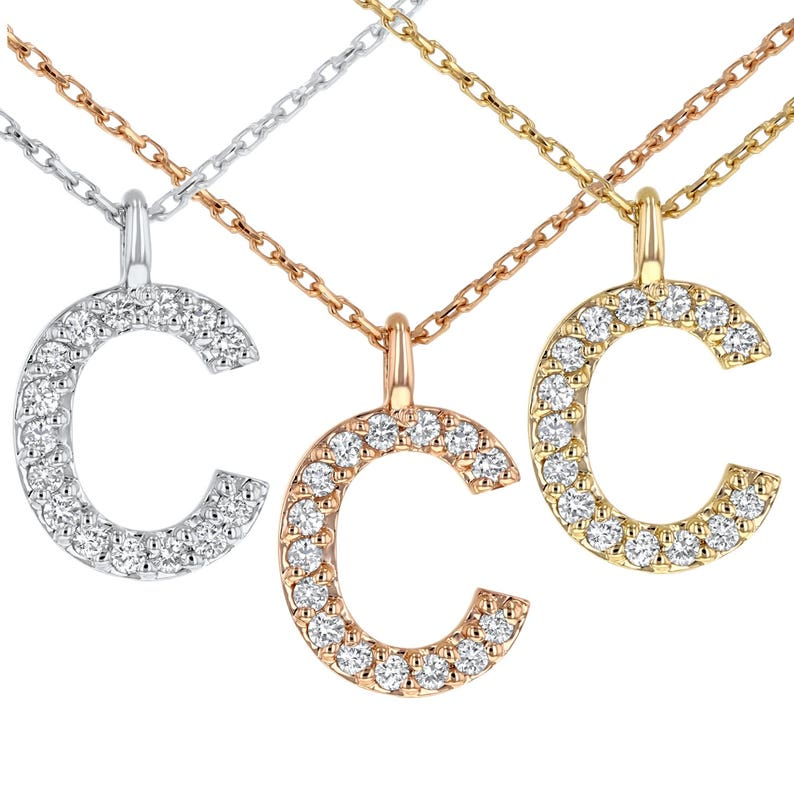 14K Solid White Yellow Letter Initial Pendant Necklace or Rose Gold With or Without Natural Diamonds