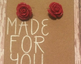 Red Rose Blossom Earrings