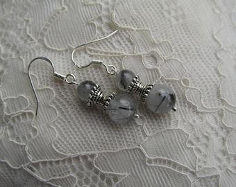 Silver tourmaline quartz earrings