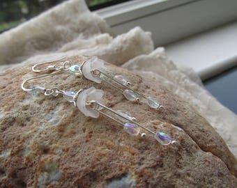 Crystal drop flower earrings