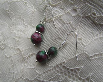 Silver ruby in zoisite earrings