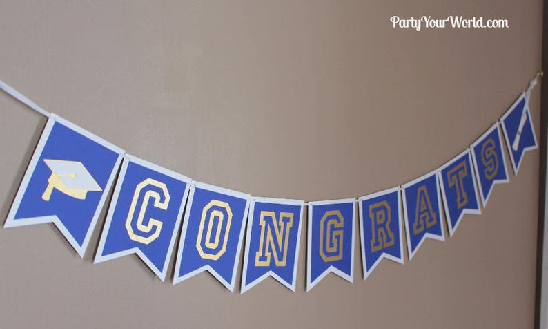 BlueWhiteGoldSilverAll school colors CollegeHigh School Graduation Decorations Custom Graduation Centerpieces