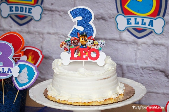 Paw Patrol Personalized Cake Topper Party