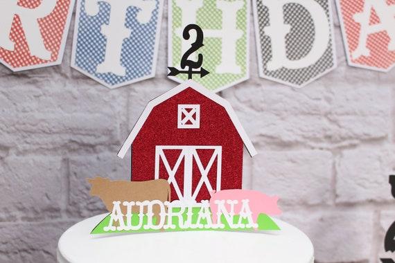 Outstanding Farm Barnyard Birthday Cake Topper W Name Age Farm Party Etsy Funny Birthday Cards Online Inifodamsfinfo