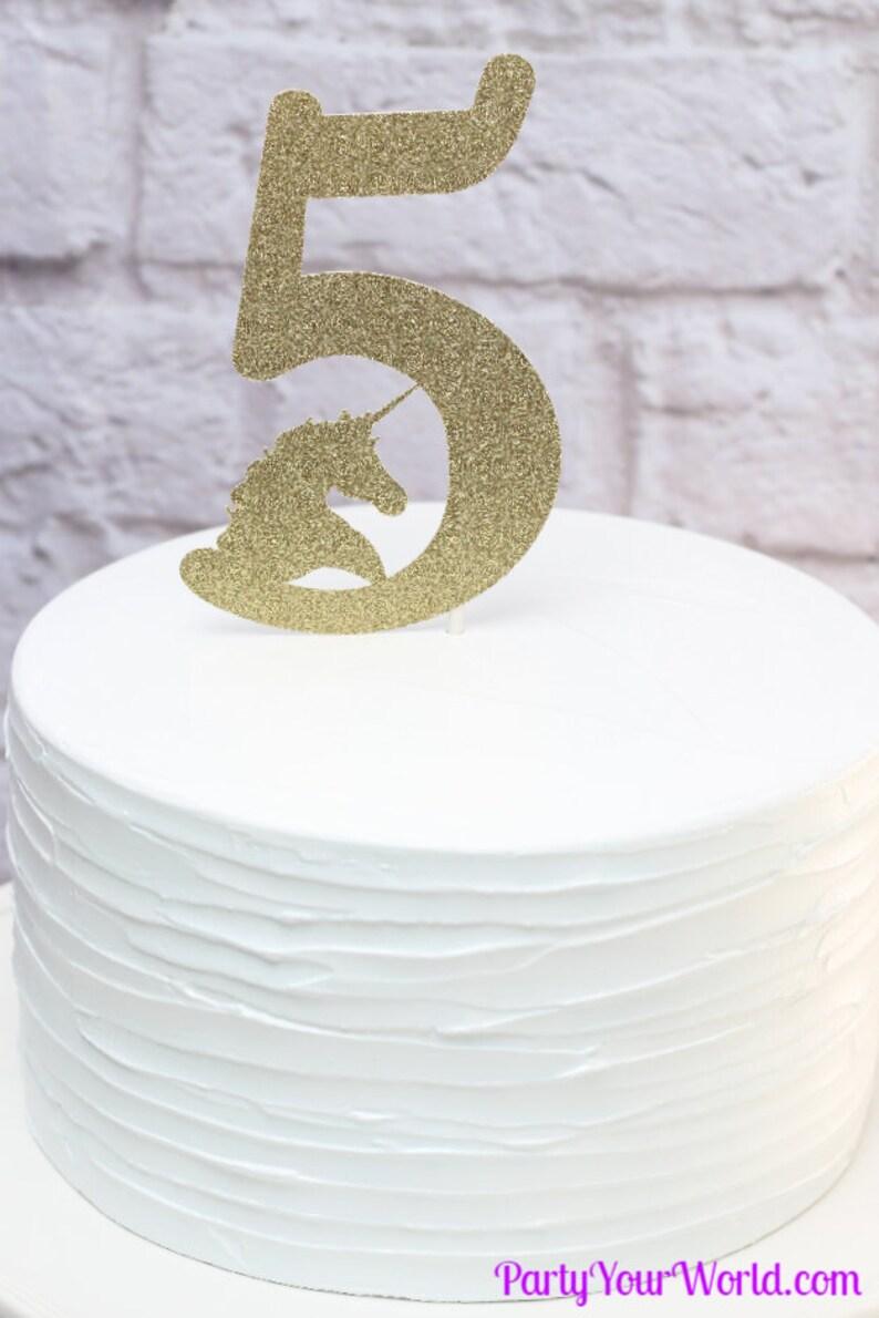 Unicorn Pastel Rainbow Five Cake Topper Party