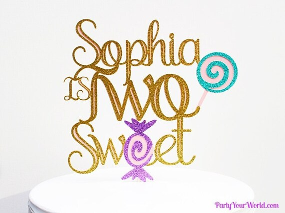 Personalized Candyland Cake Topper Two Sweet Birthday Party Decorations Decor Second Candy Theme