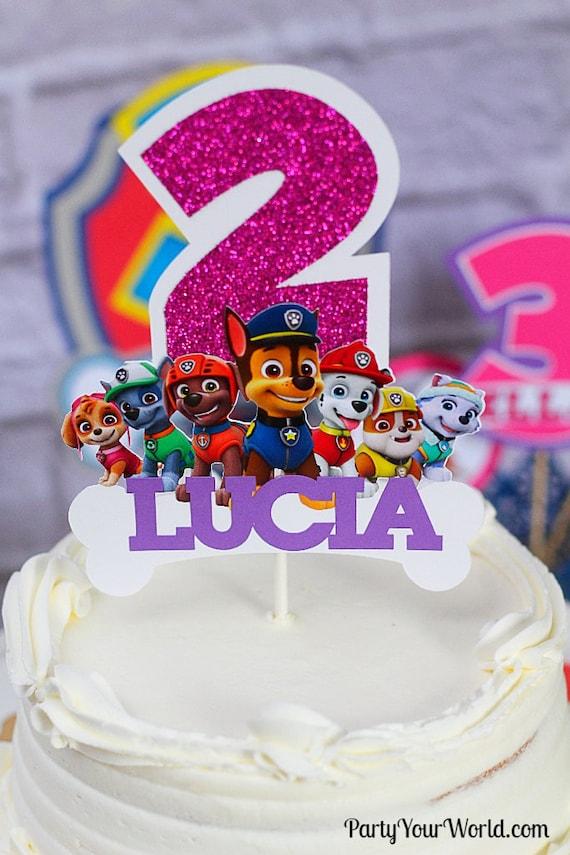 Paw Patrol Personalized Cake Topper Party Decorations Custom Birthday Decor Pink Purple Skye Everest
