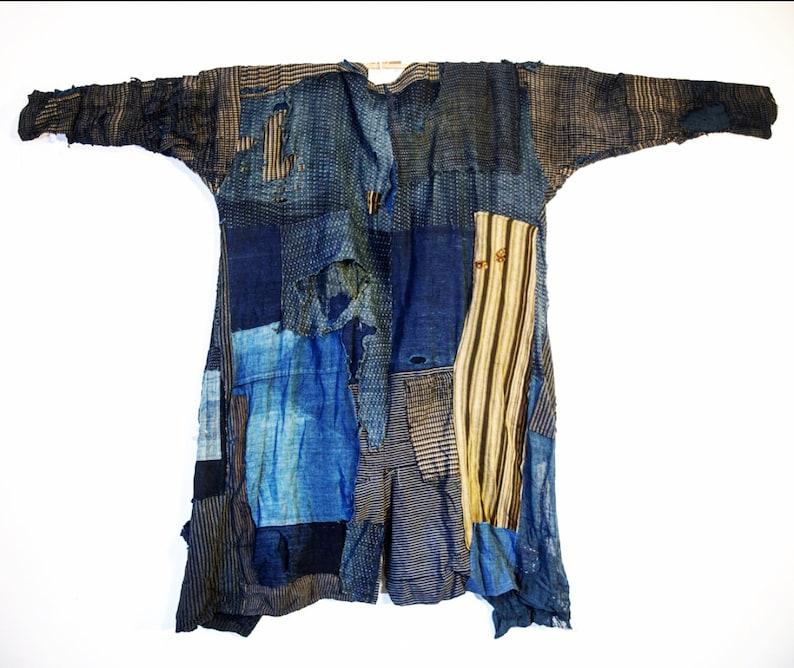253ce7cf857 Patchwork indigo fisherman jacket made from japanese boro.