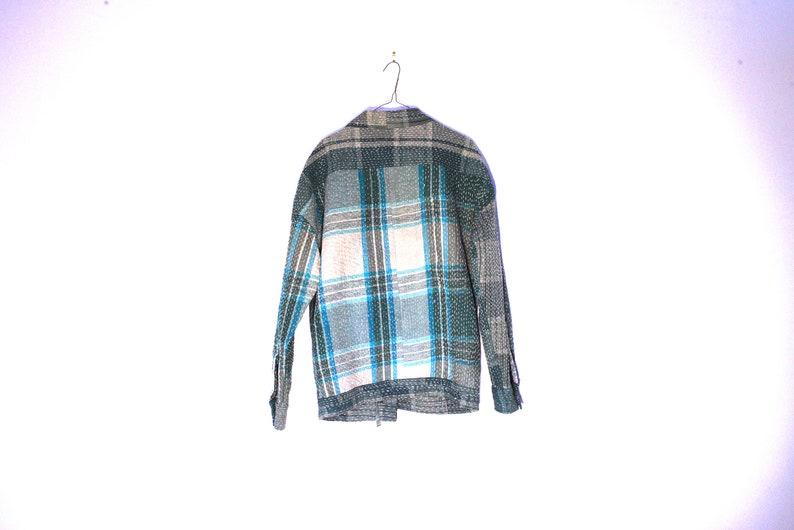 Unisex Fairtrade Indian Vintage Tartan Kantha Kimono Style Jacket