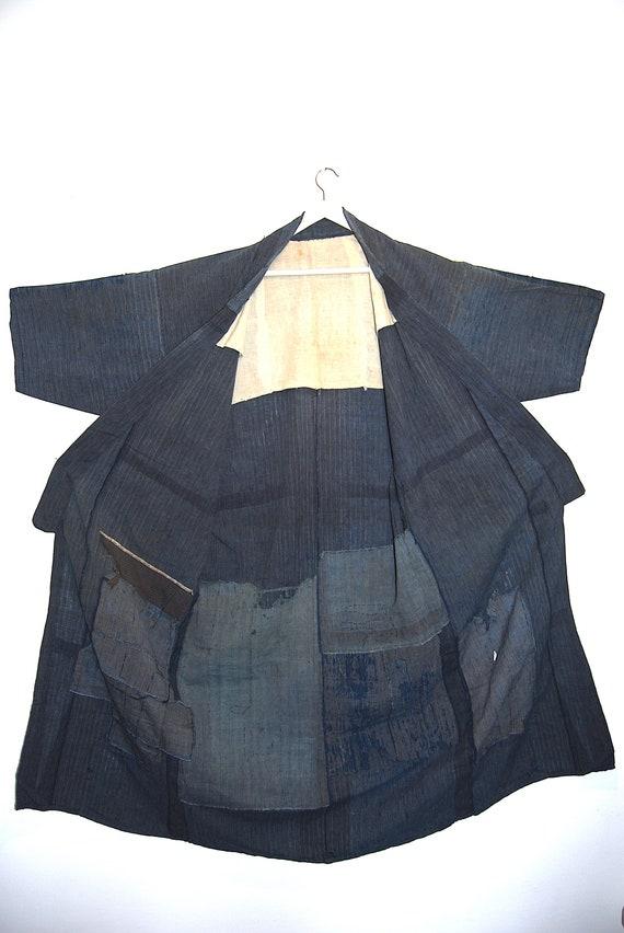 Antique Indigo Patchwork Denim Japanese Boro Kimon