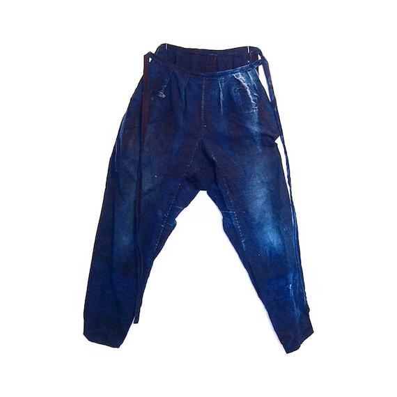Antique Indigo Denim Japanese Boro Monpe Pants
