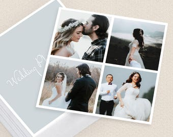 Wedding Photographer Square Camera Collage Business Card Template Multiple Photos With Borders Frames