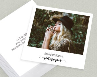Square Camera Photographer Clean Old Photo Vintage Business Card Template