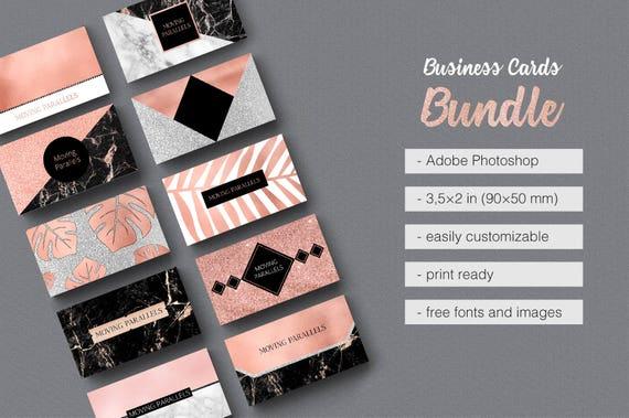 Rose Gold White Black Marble Glitter Foil Business Card Template Bundle Pack Kit