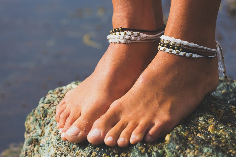 Handmade Braided Macrame Anklets  Various Colours & Beads image 0