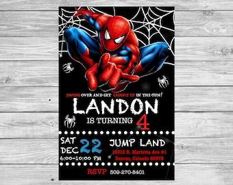 4x6 Spiderman Invitation Birthday Party Superhero Peronalized Spider Man Digital