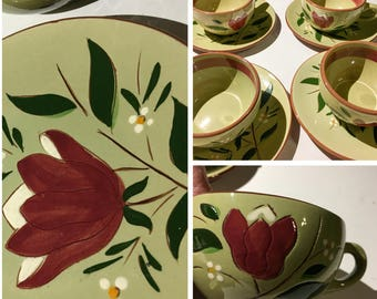 Vintage Retro Magnolia Stangl Pottery Trenton NJ Lot Set of Four Cups & Saucers Kitchen Dishes Painted