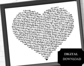 graphic relating to A Million Dreams Lyrics Printable identified as A million needs Etsy