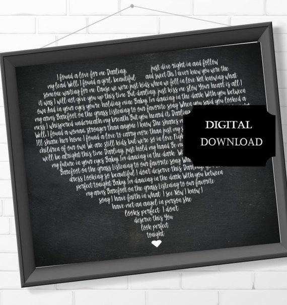 Perfect By Ed Sheeran Song Lyrics Wedding Song Lyrics Heart Shaped Lyrics Perfect By Ed Sheeran Song Lyrics Wall Art Print At Home