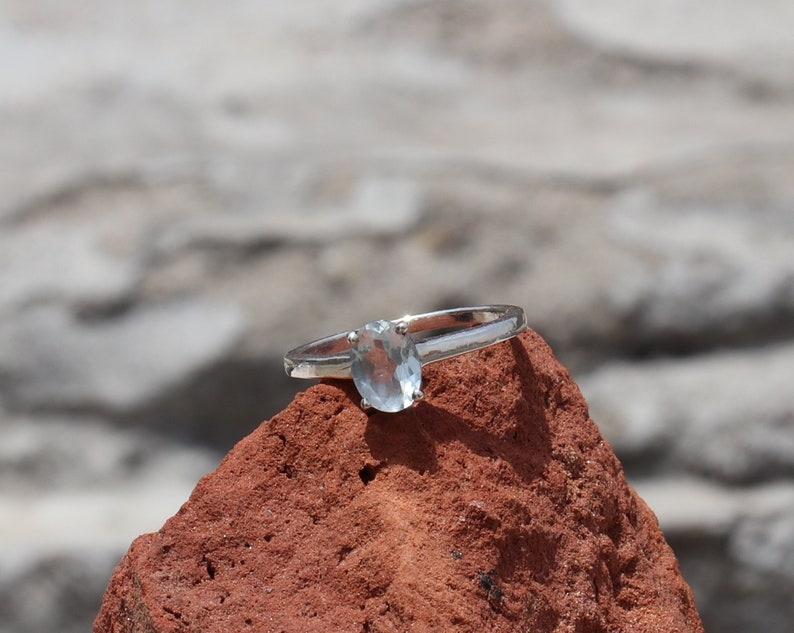 Amazing Handmade Oval Sterling Silver Ring- Aquamarine Ring Aquamarine Jewelry Aquamarine Birthstone Natural Aquamarine Faceted Ring