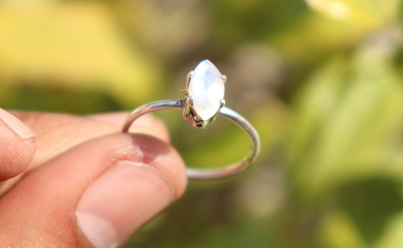 Birthstone Ring Sterling Silver Ring Natural Rainbow Moonstone Sterling Silver Ring Rainbow Moonstone Ring Rings Moonstone Ring