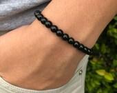 Obsidian Bracelet for men, woman, 6 mm bead obsidian, Bracelet for protection, feng shui bracelet, obsidian stone, obsidian crystal