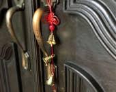 Feng Shui Bells on string, brass bells door hanger, door decor, Bells, Brass bells, Door bell, Six bells on string, feng shui decor