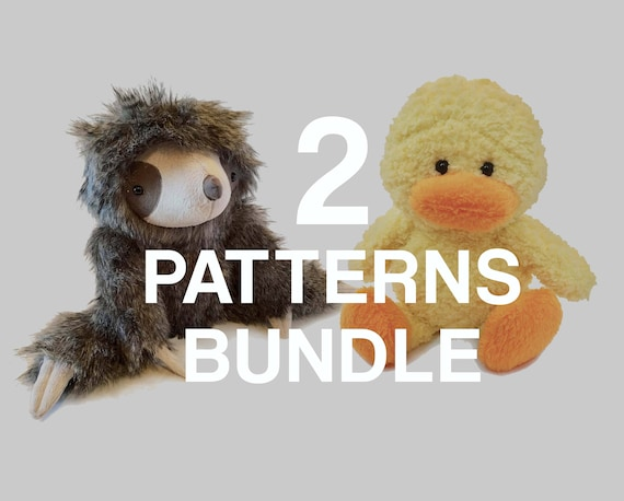 Stuffed Animal Sewing Patterns Sloth And Duck Pdf Instant Etsy