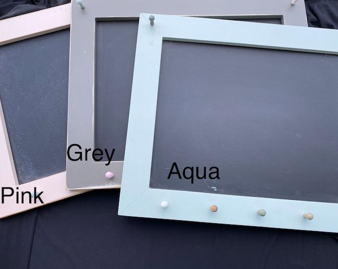 Framed Magnetic Chalkboard and Key Holder