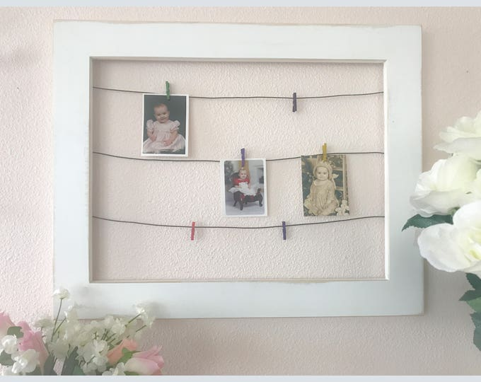 Framed Wire Photo Display with Mini Clothespins