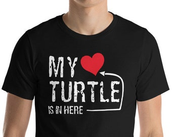 """My Turtle is in Here My Heart Tortoise Lover Funny T-Shirt Gift: """"My Turtle My Heart""""   Loggerhead   Pond Turtle   Gift for Turtle Lovers"""