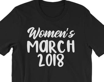 """Feminist Women's March 2018 Shirt Gift: """"Women's March 2018"""" 
