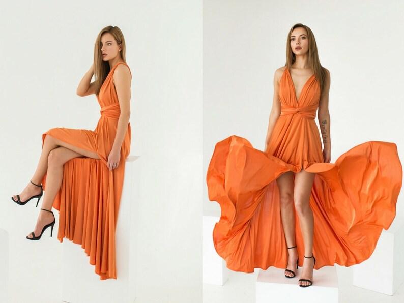 Handmade by TTBFASHION Orange Bridesmaid dress Convertible Jersey Dress Orange Infinity Dress Prom Dress Peach Wedding Guest