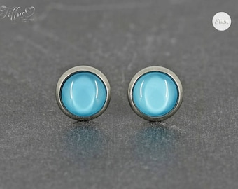 Earrings Stainless steel Cabochon Turquoise Blue 8 mm * Stainless steel * stud earring