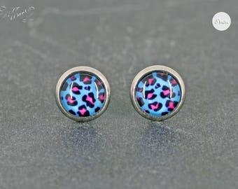 Earrings Stainless steel Cabochon leo pattern Pink Turquoise 8 mm * Leopard * Stainless steel * stud earring