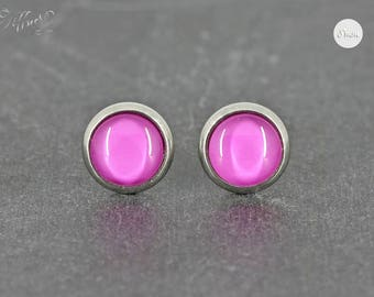 Earrings Stainless steel Cabochon monochrome Pink 8 mm * Stainless steel * stud earring