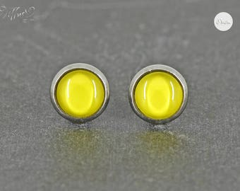 Stud Earrings Stainless Steel Cabochon solid yellow 8 mm * Stainless steel * stud earring