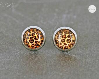 Earrings Stainless Steel Cabochon leo pattern 8 mm * Leopard * Stainless steel * stud earring
