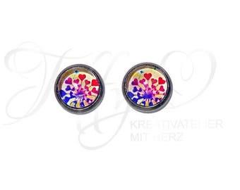 Earrings Stainless Steel * Cabochon Heart Heart 8 mm * Heart * Hearts * Stainless steel * stud * Earring